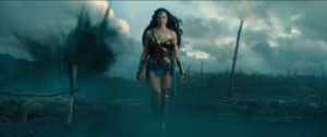 The reveal of Diana's Wonder Woman costume as she crosses No-Man's land